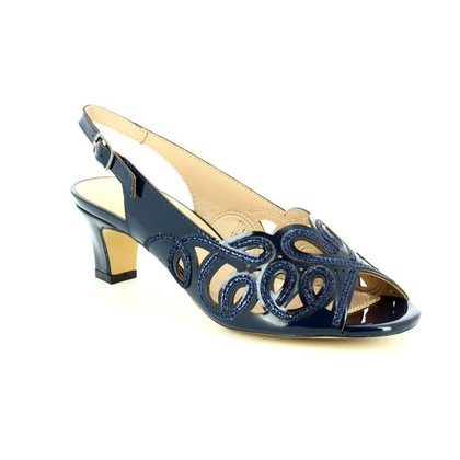 Lotus Heeled Sandals - Navy patent-suede - 50902/70 MARIANNA