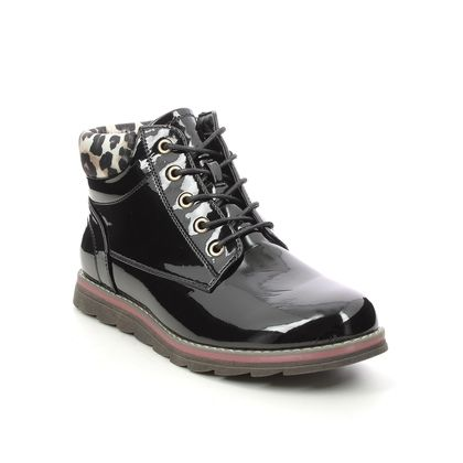 Lotus Lace Up Boots - Black patent - ULB159/32 NAOMI  SYCAMORE