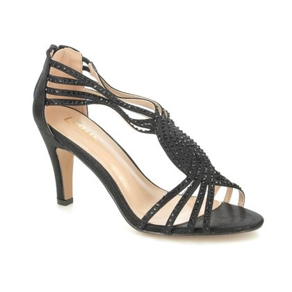 Lotus Heeled Sandals - Black Glitz - ULS164/30 NICOLE