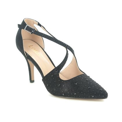 Lotus Heeled Shoes - Black Glitz - ULS208/34 PANACHE LATOYA