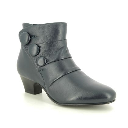 Lotus Ankle Boots - Navy Leather - ULB081/70 PRANCER