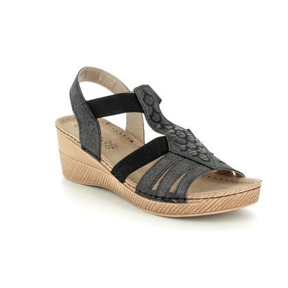 Lotus Wedge Sandals - Black - 20422/30 SALTARAN