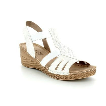 Lotus Wedge Sandals - White - 20422/66 SALTARAN