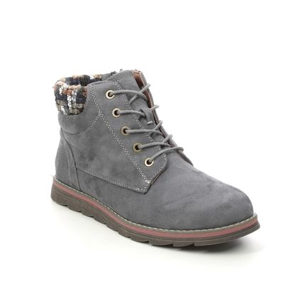 Lotus Lace Up Boots - Grey - ULB093/10 SYCAMORE
