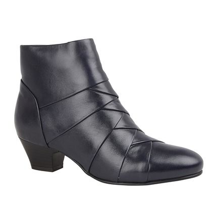 Lotus Boots - Ankle - Navy Leather - ULB169/71 TARA