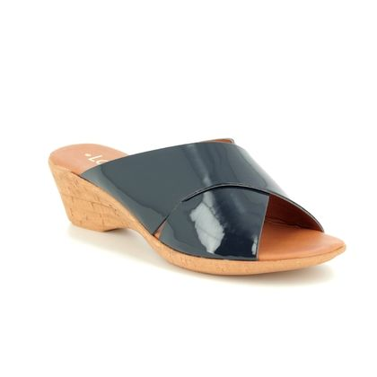 Lotus Wedge Sandals - Navy patent - ULP040/70 TONIA