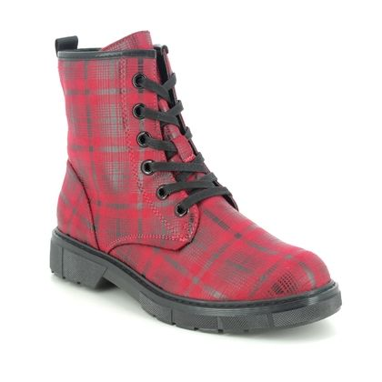 Marco Tozzi Lace Up Boots - Red multi - 25283/25/530 BADIE