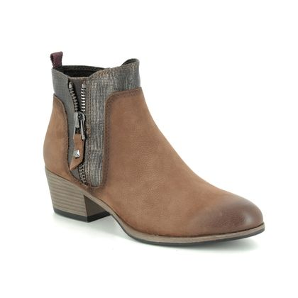 Marco Tozzi Ankle Boots - Tan Leather - 25396/23/392 BADOZIP