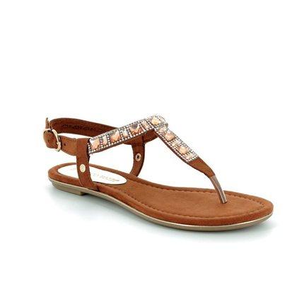 Marco Tozzi Toe Post Sandals - Tan - 28112/20/305 BIVIO 81