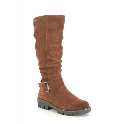 Marco Tozzi Knee High Boots - Tan Suede - 26695/23/306 CANEDO TEX