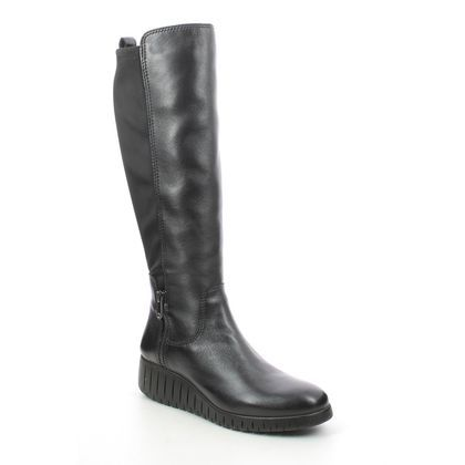 Marco Tozzi Knee High Boots - Black leather - 25614/27/096 CERASO WEDGE