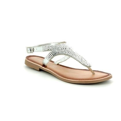 Marco Tozzi Toe Post Sandals - Silver - 28137/20/941 FLOWER