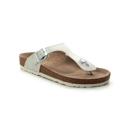 Marco Tozzi Toe Post Sandals - White multi - 27400/22/151 FRANCA