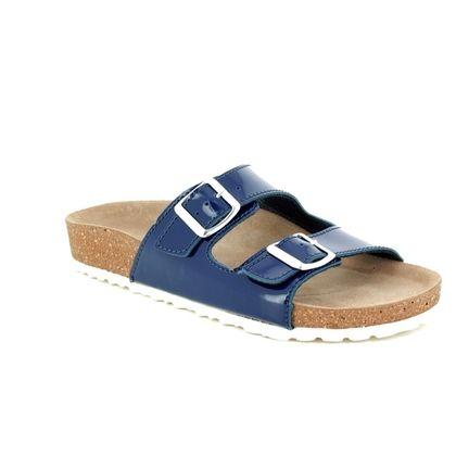 Marco Tozzi Slide Sandals - Navy patent - 27401/20/826 JANINE SLIDE
