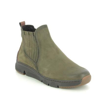 Marco Tozzi Chelsea Boots - Khaki Leather - 25429/25/785 TRENTA