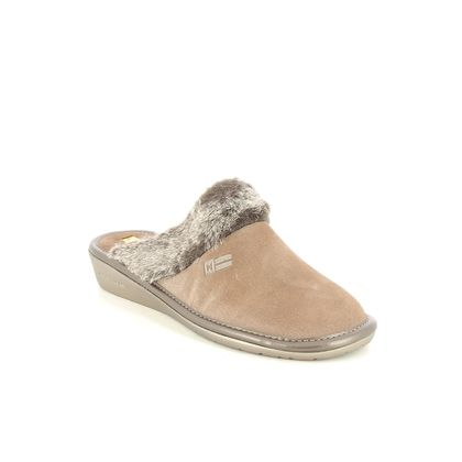 Nordikas Slippers & Mules - Taupe suede - 1357/8O MUSUE  FUR