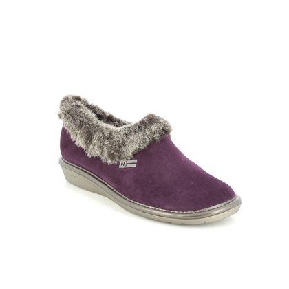 Nordikas Slippers - Purple suede - 1358/95 TOASTY FUR