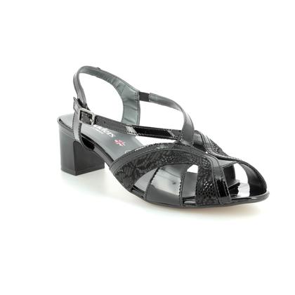 Padders Heeled Sandals - Black patent - 2015/60 CHARM  2E FIT