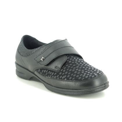 Padders Comfort Slip On Shoes - Black leather - 0380-38 DANIELLE 4E-6E