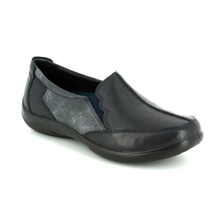 Padders Comfort Slip On Shoes - Navy Leather - 0874/96 FLUTE 2E-3E FIT