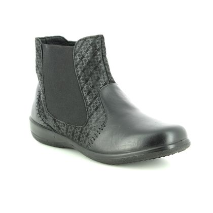 Padders Chelsea Boots - Black leather - 0884/10 MARGOT EE-EEE
