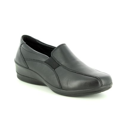 Padders Comfort Slip On Shoes - Black leather - 0253/10 SKYE 2 E-EE FI