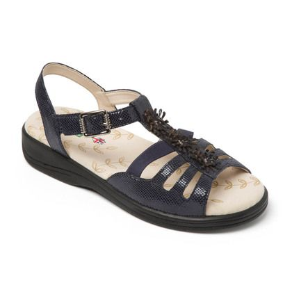 Padders Comfortable Sandals - Navy Patent-Suede - 0767-25 SUNRISE EEE FIT