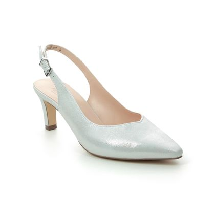 Peter Kaiser Slingback Shoes - Silver Leather - 66503/082 MEDANA
