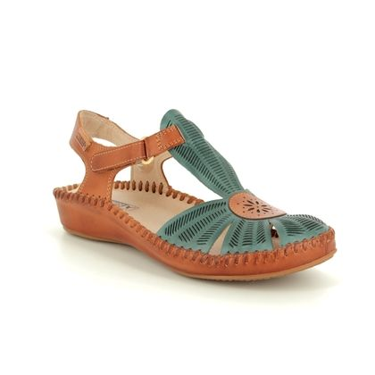 Pikolinos Closed Toe Sandals - Denim Tan - 6550575/72 VALLARIA