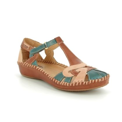 Pikolinos Closed Toe Sandals - Navy Tan - 6550621/C1 VALLARTA TWIST