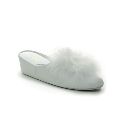 Relax Slippers Slippers - WHITE LEATHER - 3419/ FUZZY
