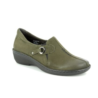 Relaxshoe Comfort Slip On Shoes - Olive Green - 891016/90 AMY UNDER