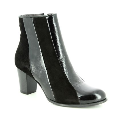 Relaxshoe Fashion Ankle Boots - Black patent suede - 460011/40 STRIPES