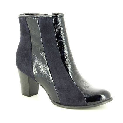 Relaxshoe Fashion Ankle Boots - Navy Patent-Suede - 460011/70 STRIPES