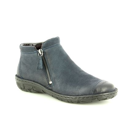 Relaxshoe Fashion Ankle Boots - Navy Leather - 26759/70 SUFFCAP