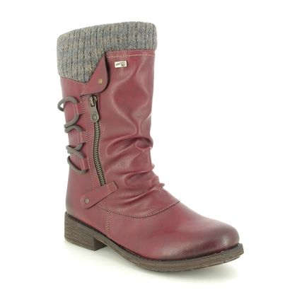 Remonte Mid Calf Boots - Wine - D8070-35 ANDROS TEX