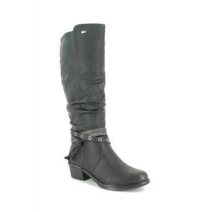 Remonte Knee High Boots - Black leather - R1170-01 BERNONTE TEX