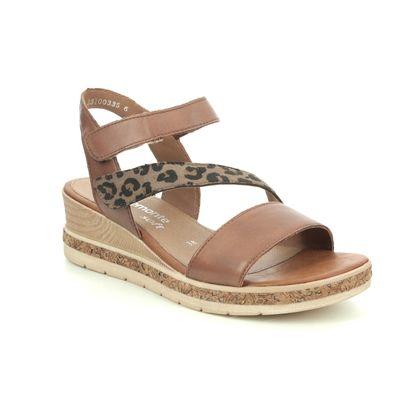 Remonte Wedge Sandals - Tan multi - D3054-24 BOUSTRAP
