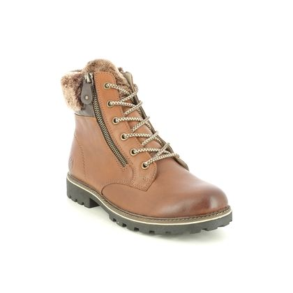 Remonte Lace Up Boots - Tan Leather  - D8463-24 BRAND SHEARLING