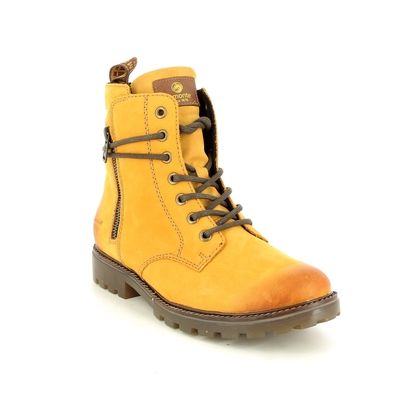 Remonte Lace Up Boots - Yellow nubuck - D8473-68 BRANDIT TEX