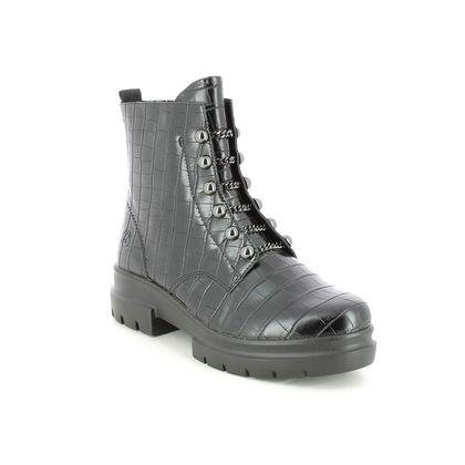 Remonte Biker Boots - Black croc - D8977-02 CHUNKY