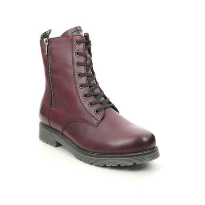 Remonte Lace Up Boots - Wine leather - D4871-35 DOCLEAT ZIP
