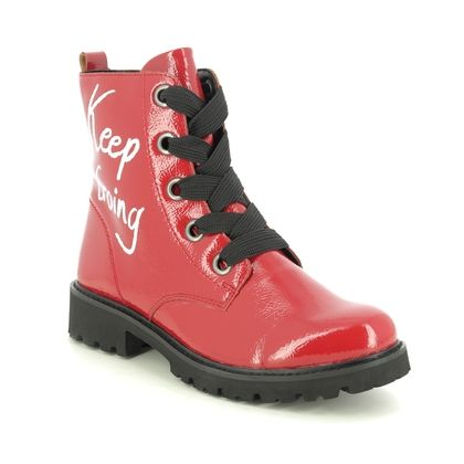 Remonte Lace Up Boots - Red patent - D8675-35 DOCRIGHT