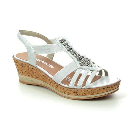 Remonte Wedge Sandals - White silver - D4759-90 HALT