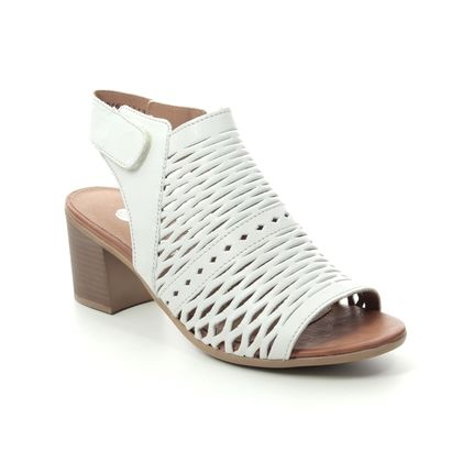 Remonte Heeled Sandals - WHITE LEATHER - D2170-80 KAYLIN CROSS