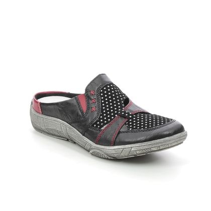 Remonte Slippers & Mules - Black-red combi - D3851-01 LUVMULE