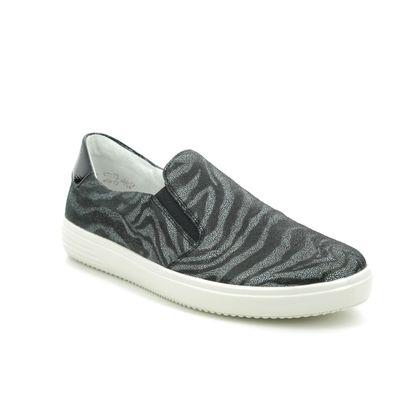 Remonte Comfort Slip On Shoes - Black Multi Leather - D1405-02 OMONTE