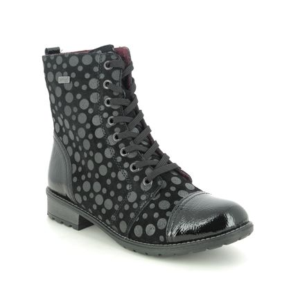 Remonte Lace Up Boots - Black patent suede - R3309-02 PEEBUBBLE