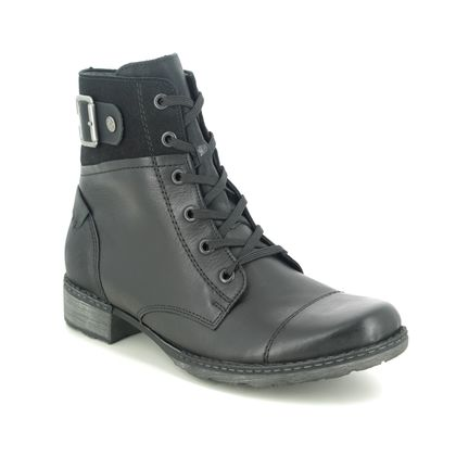 Remonte Lace Up Boots - Black leather - D4368-01 PEEMONT