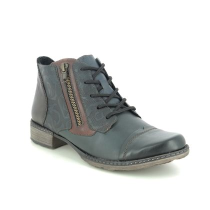 Remonte Lace Up Boots - Navy Leather - D4378-16 PEESHEL